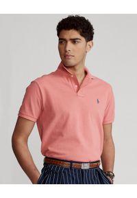 Ralph Lauren - RALPH LAUREN - Różowa koszulka polo Mesh Custom Fit. Typ kołnierza: polo. Kolor: różowy, wielokolorowy, fioletowy. Materiał: mesh. Wzór: haft