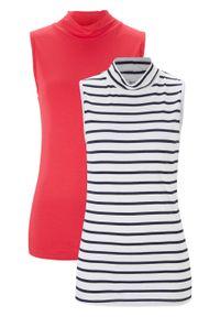 Top z golfem (2 szt.) bonprix różowy hibiskus + biało-ciemnoniebieski w paski. Typ kołnierza: golf. Kolor: różowy. Wzór: paski