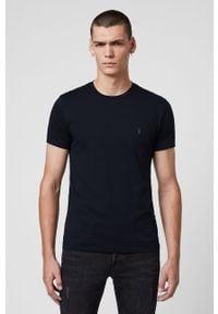 Niebieski t-shirt AllSaints casualowy, na co dzień, z okrągłym kołnierzem