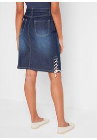 """Spódnica dżinsowa ze stretchem i ozdobnym sznurowaniem bonprix ciemnoniebieski """"used"""". Kolor: niebieski"""