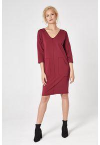 e-margeritka - Sukienka dresowa trapezowa bordowa - l. Okazja: na co dzień. Kolor: czerwony. Materiał: dresówka. Typ sukienki: trapezowe. Styl: casual