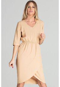 Beżowa sukienka Figl na co dzień, asymetryczna, midi, casualowa
