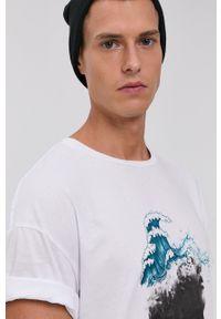 Premium by Jack&Jones - T-shirt bawełniany. Okazja: na co dzień. Kolor: biały. Materiał: bawełna. Wzór: nadruk. Styl: casual