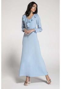 Niebieska sukienka wizytowa Nommo z falbankami, w kwiaty