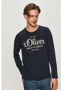 Niebieska koszulka z długim rękawem s.Oliver z nadrukiem, na co dzień, casualowa