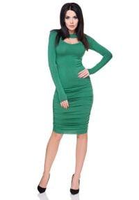 Tessita - Zielona Marszczona Sukienka Bodycon z Wyciętym Dekoltem. Kolor: zielony. Materiał: wiskoza, elastan, akryl. Typ sukienki: bodycon