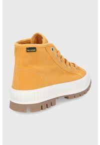 Palladium - Trampki. Nosek buta: okrągły. Zapięcie: sznurówki. Kolor: żółty. Materiał: guma
