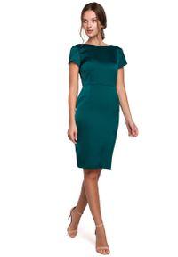 MAKEOVER - Zielona Elegancka Sukienka z Dekoltem Typu Woda. Kolor: zielony. Materiał: poliester, elastan. Styl: elegancki