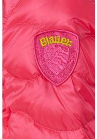 Różowa kurtka Blauer gładkie, z kapturem