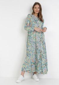 Born2be - Czarno-Niebieska Sukienka Acosyxio. Kolor: czarny. Długość rękawa: długi rękaw. Wzór: kwiaty. Długość: maxi