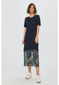 Desigual - Sukienka. Okazja: na co dzień. Kolor: niebieski. Materiał: tkanina, dzianina, materiał. Długość rękawa: krótki rękaw. Typ sukienki: proste. Styl: casual