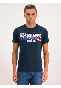 Niebieski t-shirt Blauer z nadrukiem