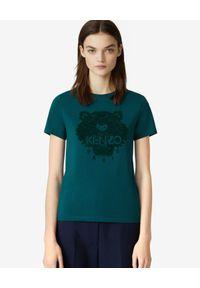 Kenzo - KENZO - Turkusowa koszulka Tiger Flock. Kolor: zielony. Materiał: bawełna, jeans. Wzór: aplikacja. Sezon: lato, zima. Styl: klasyczny