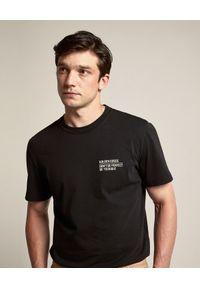 GOLDEN GOOSE - Koszulka z kontrastowym napisem Journey. Kolor: czarny. Materiał: bawełna. Wzór: napisy. Styl: klasyczny