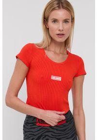 LABELLAMAFIA - LaBellaMafia - T-shirt. Kolor: pomarańczowy. Materiał: dzianina