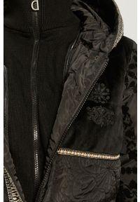 Czarna kurtka Desigual na co dzień, z kapturem, casualowa