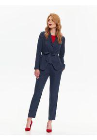 Niebieski żakiet TOP SECRET na jesień, w kolorowe wzory, elegancki, do pracy