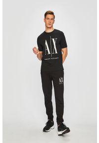 Czarny t-shirt Armani Exchange casualowy, z nadrukiem, na co dzień