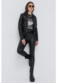 Young Poets Society - Ramoneska skórzana Emma. Kolor: czarny. Materiał: skóra. Styl: klasyczny