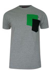 Kings - T-shirt, Szary, BAWEŁNA, U-neck, z Kieszonką, Męski, Krótki Rękaw -KINGS. Okazja: na co dzień. Kolor: szary. Materiał: wiskoza, bawełna. Długość rękawa: krótki rękaw. Długość: krótkie. Styl: casual