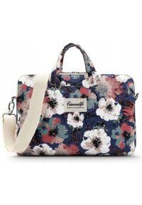 Torba na laptopa CANVASLIFE Briefcase 13-14 cali Blue Camellia. Materiał: materiał. Wzór: aplikacja, kwiaty