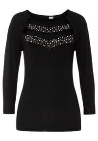 Shirt siatkowy ze sztrasami bonprix czarny. Kolor: czarny. Wzór: aplikacja