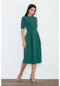 Figl - Zielona Sukienka Elegancka Wizytowa Midi. Kolor: zielony. Materiał: wiskoza, poliester. Styl: wizytowy, elegancki. Długość: midi