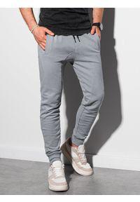 Ombre Clothing - Spodnie męskie dresowe joggery P948 - jasnoszare - XXL. Kolor: szary. Materiał: dresówka