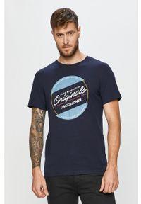 Niebieski t-shirt Jack & Jones z okrągłym kołnierzem, z nadrukiem