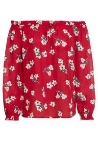 Czerwona bluzka bonprix z kołnierzem typu carmen, w kwiaty