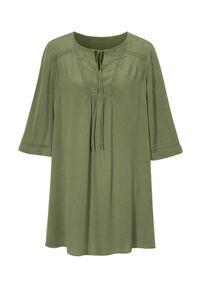 Zielona tunika Cellbes elegancka, z okrągłym kołnierzem