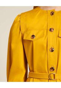 Luisa Spagnoli - LUISA SPAGNOLI - Żółta marynarka z paskiem Venezie. Typ kołnierza: bez kołnierzyka. Kolor: żółty. Materiał: bawełna, satyna. Styl: elegancki