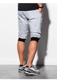 Ombre Clothing - Krótkie spodenki męskie dresowe P29 - szaro-czarne - XXL. Kolor: szary. Materiał: dresówka. Długość: krótkie. Styl: klasyczny
