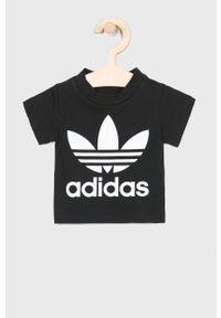 Czarny t-shirt adidas Originals na co dzień, casualowy, z nadrukiem
