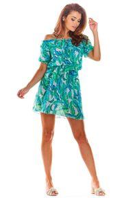Zielona sukienka wizytowa Awama w kwiaty, z kołnierzem typu carmen, mini