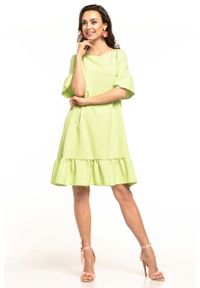 Zielona sukienka wizytowa Tessita na lato, z falbankami