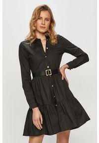 Czarna sukienka Silvian Heach prosta, mini, na co dzień, gładkie