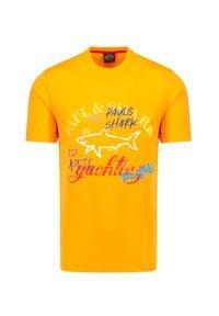 Żółty t-shirt Paul and Shark z nadrukiem, na lato, krótki