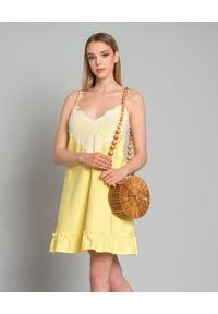 Pinko - PINKO - Sukienka z kryształami. Kolor: żółty. Materiał: koronka. Długość rękawa: na ramiączkach. Wzór: aplikacja, koronka. Sezon: lato. Styl: elegancki