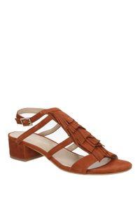 Brązowe sandały Bruno Premi na lato, w kolorowe wzory, casualowe