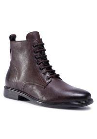 Brązowe buty zimowe Geox na co dzień, z cholewką