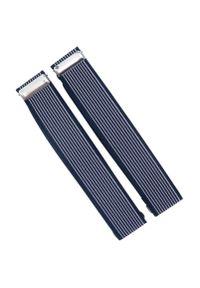 Modini - Granatowe w białe paski opaski do rękawów koszuli X4. Kolor: niebieski, biały, wielokolorowy. Materiał: guma. Wzór: paski