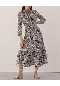 Marella - MARELLA - Wzorzysta sukienka Spazio. Okazja: do pracy, na spotkanie biznesowe. Kolor: brązowy. Materiał: bawełna. Wzór: geometria. Typ sukienki: rozkloszowane, koszulowe. Styl: biznesowy, klasyczny. Długość: mini