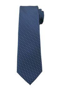 Granatowy Elegancki Krawat -Angelo di Monti- 6 cm, Męski, w Biały Drobny Wzór. Kolor: niebieski. Styl: elegancki