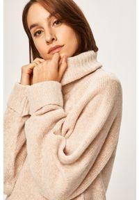 Beżowy sweter ANSWEAR z golfem, raglanowy rękaw #5