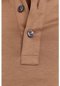 BOSS - Boss - Polo bawełniane. Typ kołnierza: polo. Kolor: beżowy. Materiał: bawełna. Długość: krótkie. Wzór: gładki