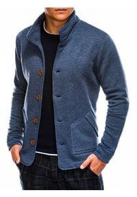 Ombre Clothing - Bluza męska rozpinana bez kaptura CARMELO - jeansowa - XL. Typ kołnierza: bez kaptura. Materiał: jeans