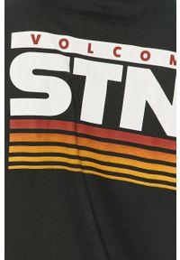 Czarna koszulka z długim rękawem Volcom z nadrukiem, casualowa, na co dzień