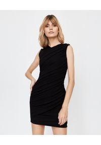 Balmain - BALMAIN - Krótka sukienka z marszczeniem. Okazja: na imprezę. Kolor: czarny. Wzór: aplikacja. Typ sukienki: dopasowane. Styl: elegancki. Długość: mini