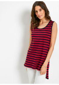 Długi top w paski, z okrągłym dekoltem bonprix truskawkowo-ciemnoniebieski. Kolor: czerwony. Długość: długie. Wzór: paski